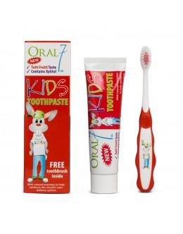 """Oral7  Детский набор  """"Дерзкий кролик"""" - Зубная паста и мягкая щетка, 4 -12 лет"""