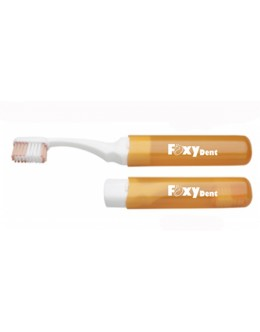 Дорожная зубная щетка FoxyDent Protection средней жесткости (оранжевая)